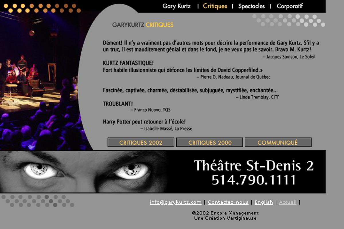 Gary Kurtz, site Web 2002
