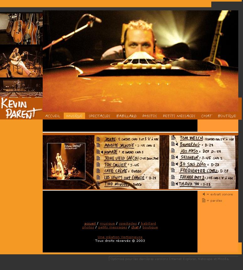 Kevin Parent site web