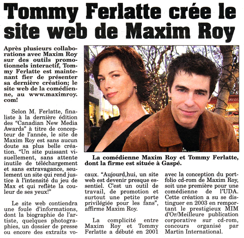 Maxim Roy et Tommy Ferlatte