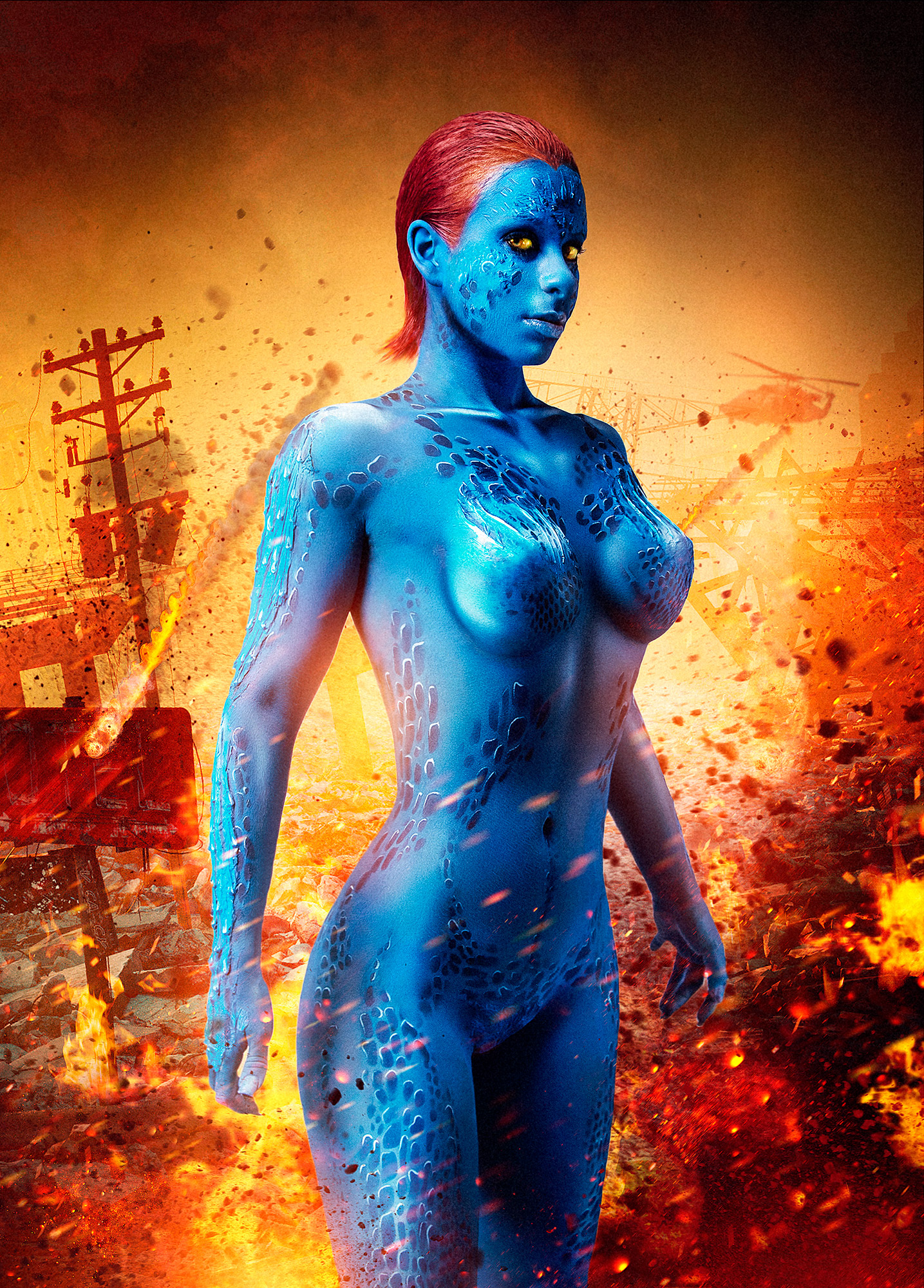Mystique X-men Movie poster cosplay airbrush bodypainting