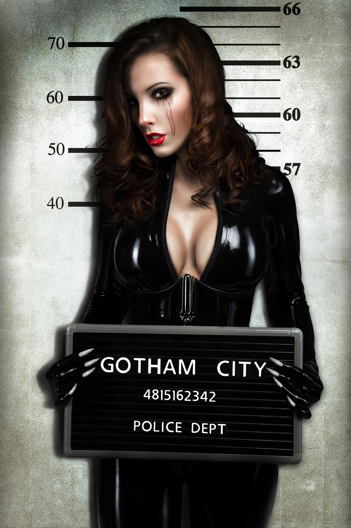 Catwoman arrested in latex catsuit mugshot