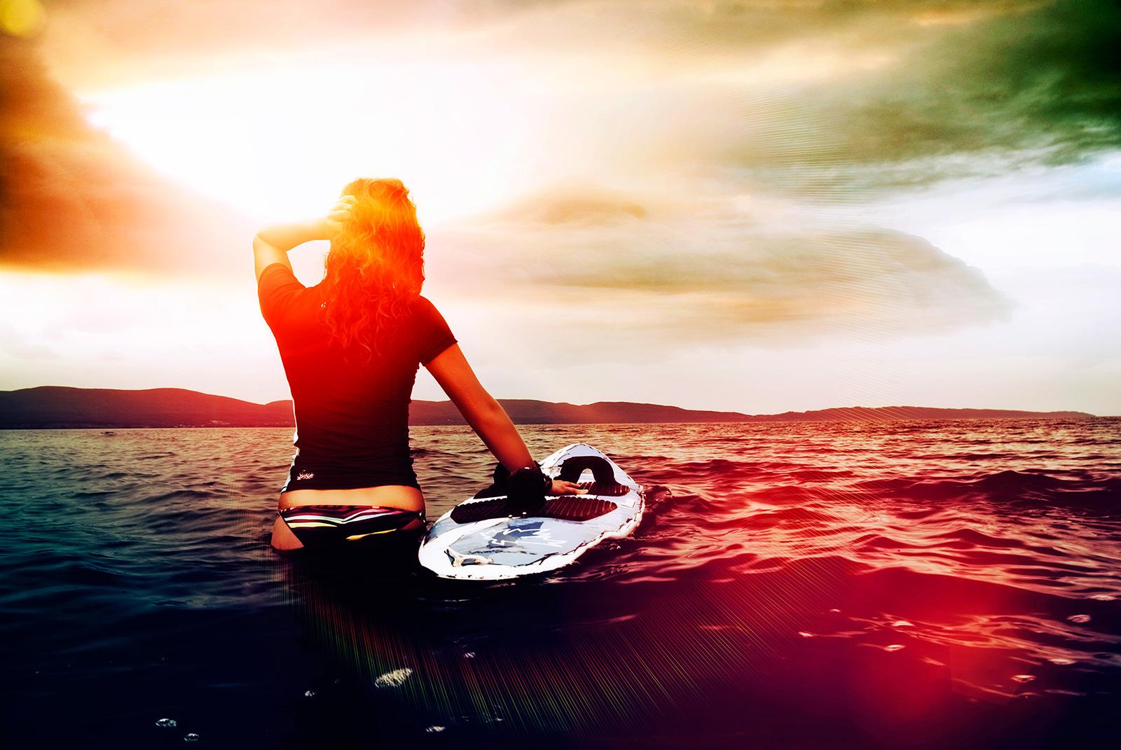 Fashion sexy surf surfer girl