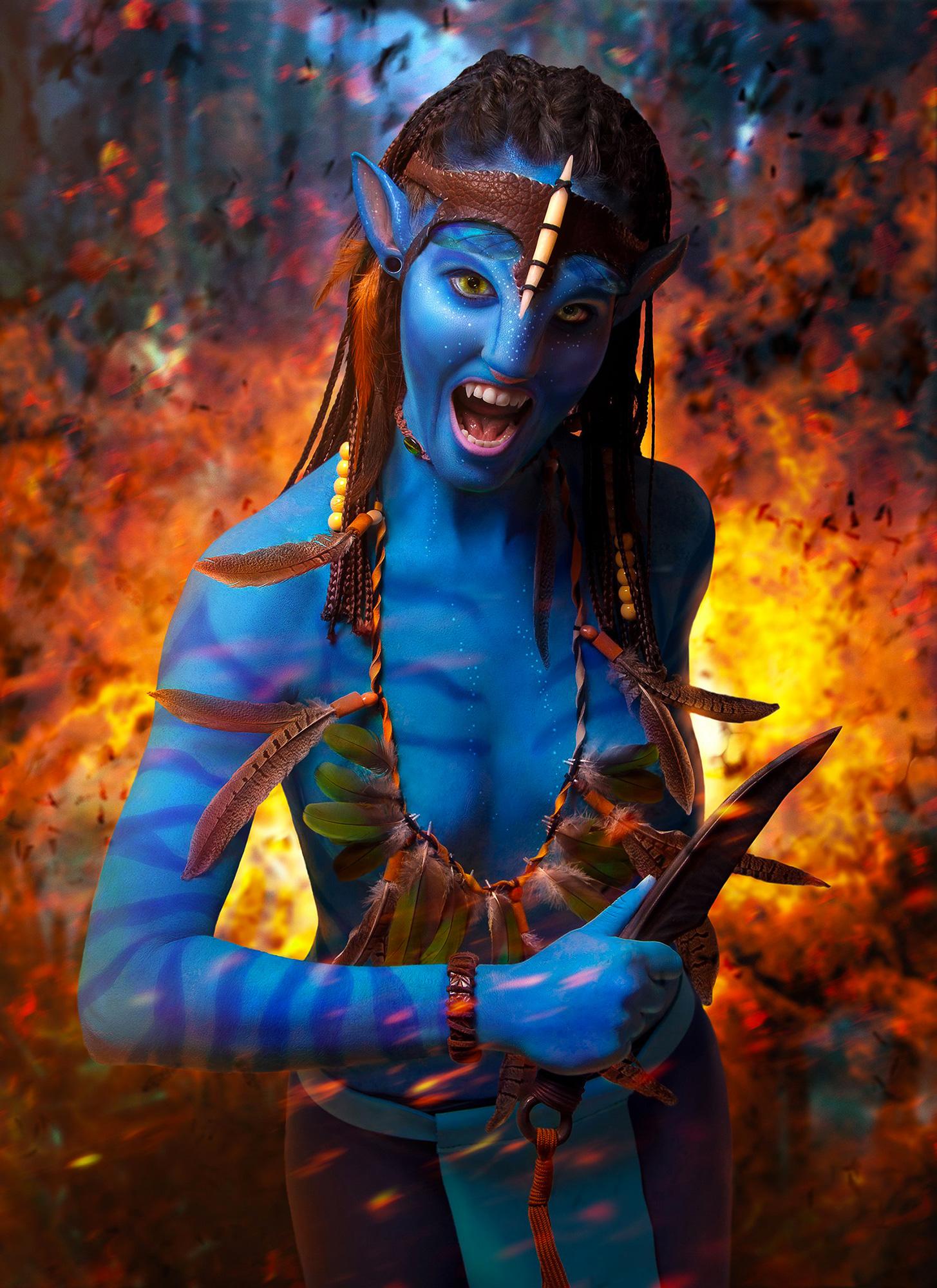 Neytiri, Avatar movie airbrus body painting